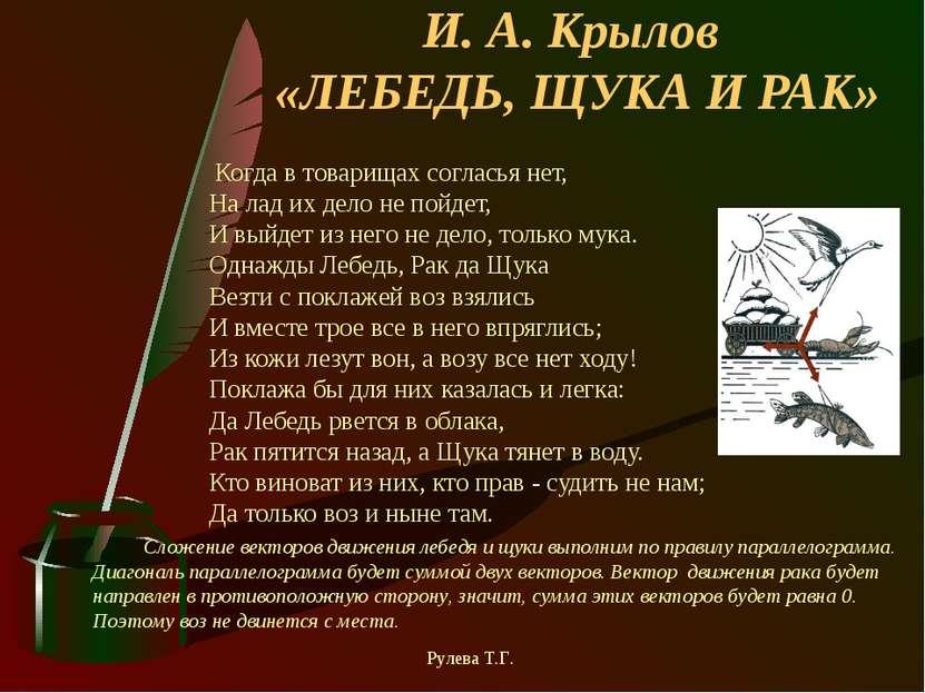 И. А. Крылов «ЛЕБЕДЬ, ЩУКА И РАК» Когда в товарищах согласья нет, На лад их д...