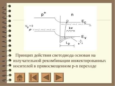 Принцип действия светодиода основан на излучательной рекомбинации инжек...