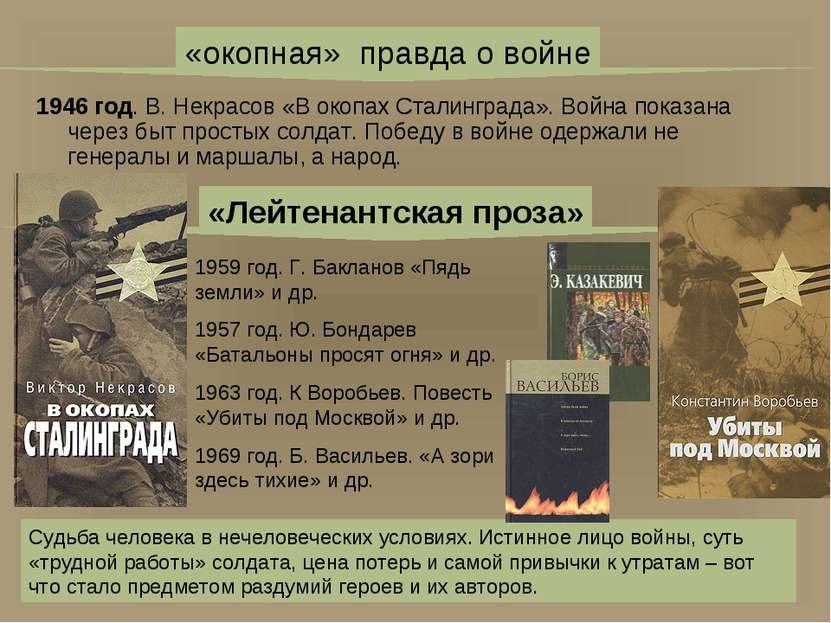1946 год. В. Некрасов «В окопах Сталинграда». Война показана через быт просты...