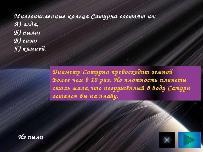 Многочисленные кольца Сатурна состоят из: А) льда; Б) пыли; В) газа; Г) камне...