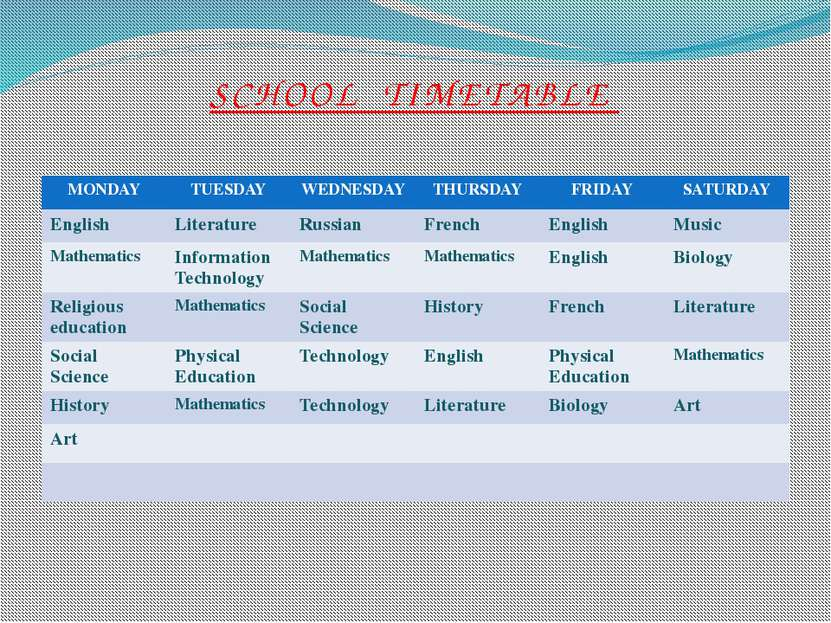 SCHOOL TIMETABLE MONDAY TUESDAY WEDNESDAY THURSDAY FRIDAY SATURDAY English Li...