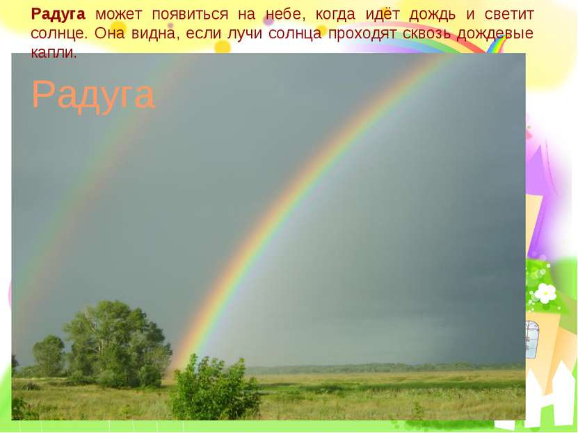 Радуга может появиться на небе, когда идёт дождь и светит солнце. Она видна, ...