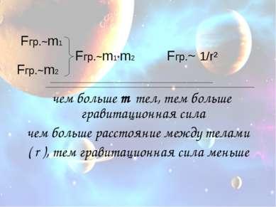 Fгр.~m1 Fгр.~m1*m2 Fгр.~ 1/r² Fгр.~m2 _______________________________________...
