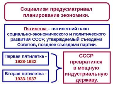 Социализм предусматривал планирование экономики. Пятилетка – пятилетний план ...