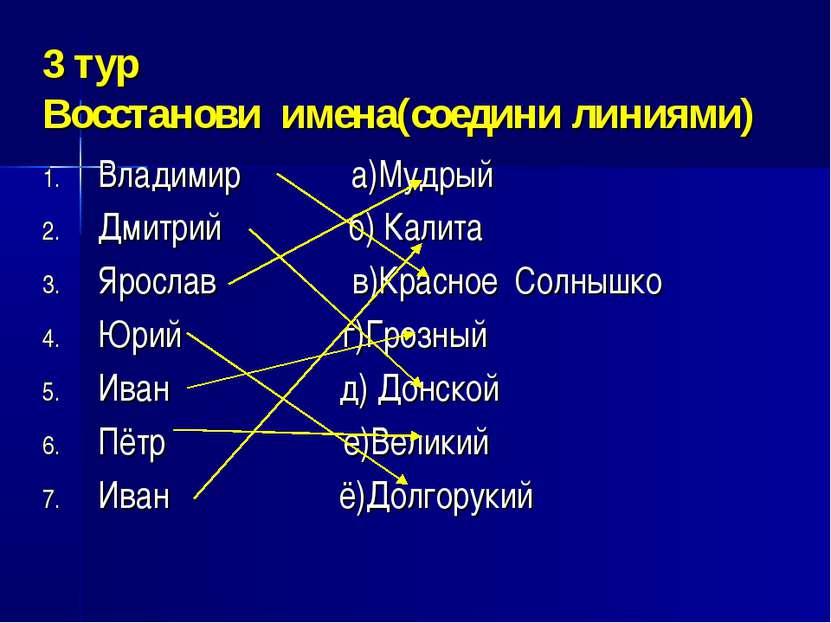 3 тур Восстанови имена(соедини линиями) Владимир а)Мудрый Дмитрий б) Калита Я...