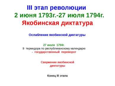 III этап революции 2 июня 1793г.-27 июля 1794г. Якобинская диктатура Ослаблен...