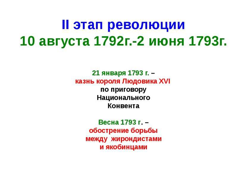 II этап революции 10 августа 1792г.-2 июня 1793г. 21 января 1793 г. – казнь к...
