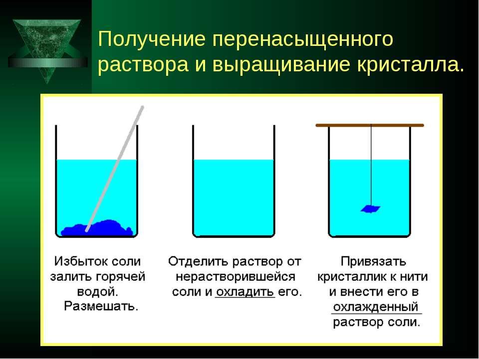 Получение перенасыщенного раствора и выращивание кристалла.