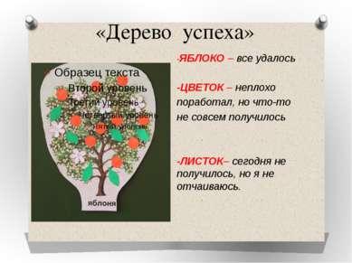 «Дерево успеха» -ЯБЛОКО – все удалось -ЦВЕТОК – неплохо поработал, но что-то ...