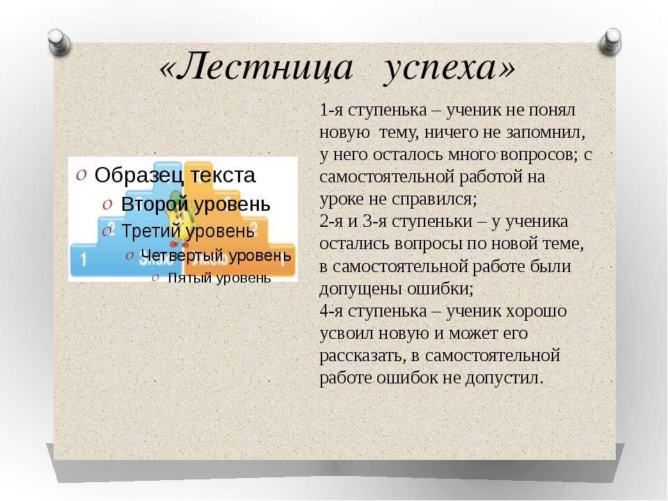 «Лестница успеха» 1-я ступенька – ученик не понял новую тему, ничего не запом...