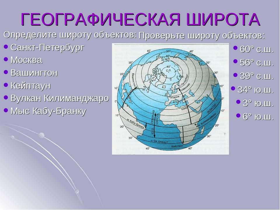Определите широту объектов: Санкт-Петербург Москва Вашингтон Кейптаун Вулкан ...