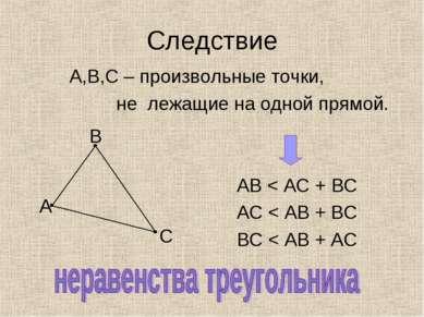 Следствие А,В,С – произвольные точки, не лежащие на одной прямой. АВ < АС + В...