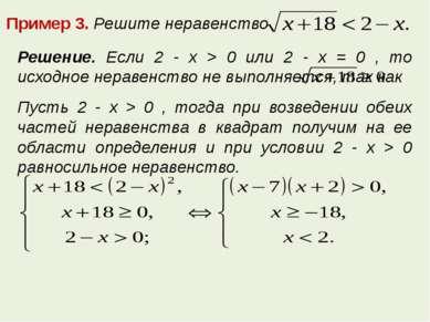 Пример 3. Решите неравенство Решение. Если 2 - x > 0 или 2 - x = 0 , то исход...