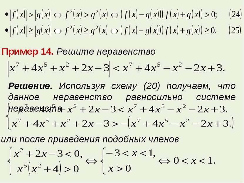Пример 14. Решите неравенство Решение. Используя схему (20) получаем, что дан...