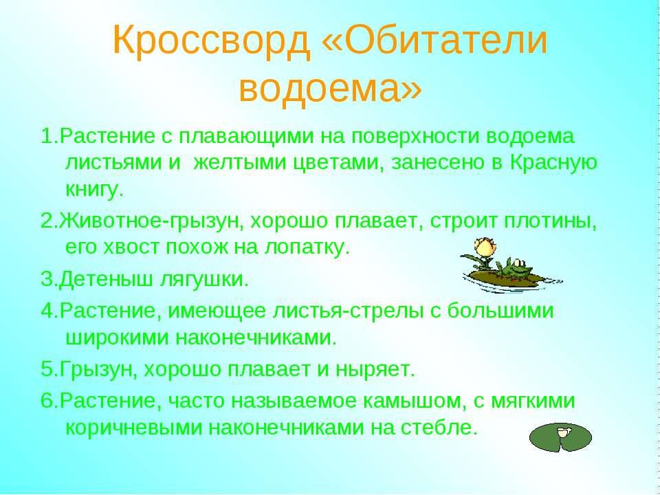 Кроссворд «Обитатели водоема» 1.Растение с плавающими на поверхности водоема ...
