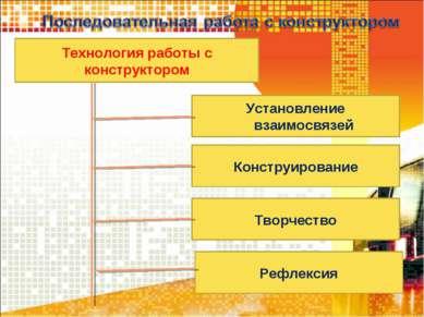 Технология работы с конструктором Установление взаимосвязей Конструирование Т...