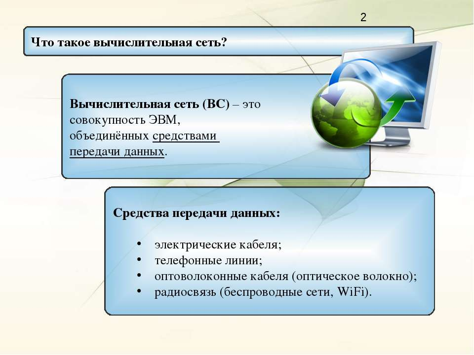 Вычислительная сеть (ВС) – это совокупность ЭВМ, объединённых средствами пере...