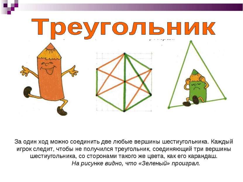 За один ход можно соединить две любые вершины шестиугольника. Каждый игрок сл...