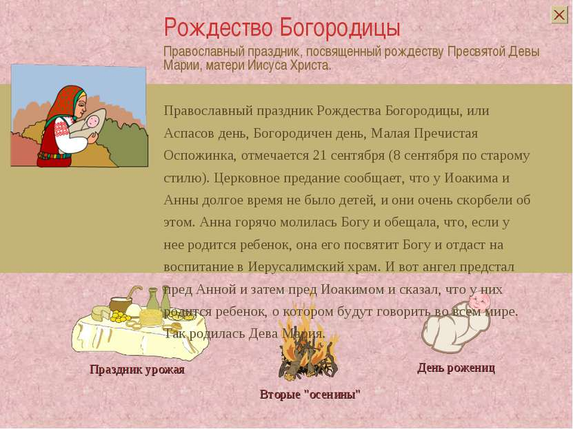 Православный праздник, посвященный рождеству Пресвятой Девы Марии, матери Иис...