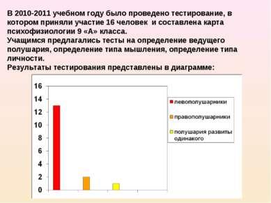 В 2010-2011 учебном году было проведено тестирование, в котором приняли участ...