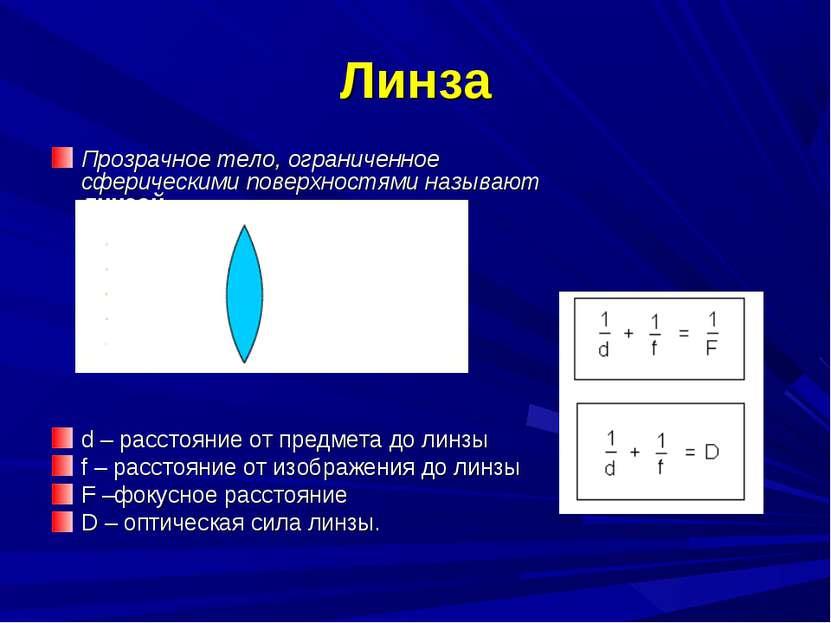 Линза Прозрачное тело, ограниченное сферическими поверхностями называют линзо...