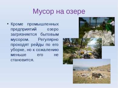 Мусор на озере Кроме промышленных предприятий озеро загрязняется бытовым мусо...