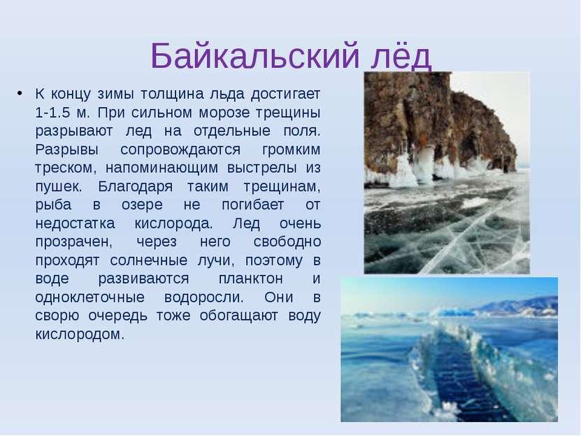 Байкальский лёд К концу зимы толщина льда достигает 1-1.5 м. При сильном моро...