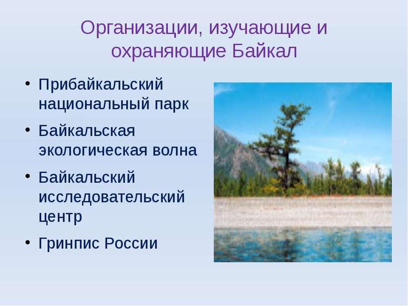 Организации, изучающие и охраняющие Байкал Прибайкальский национальный парк Б...
