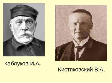 Каблуков И.А. Кистяковский В.А.