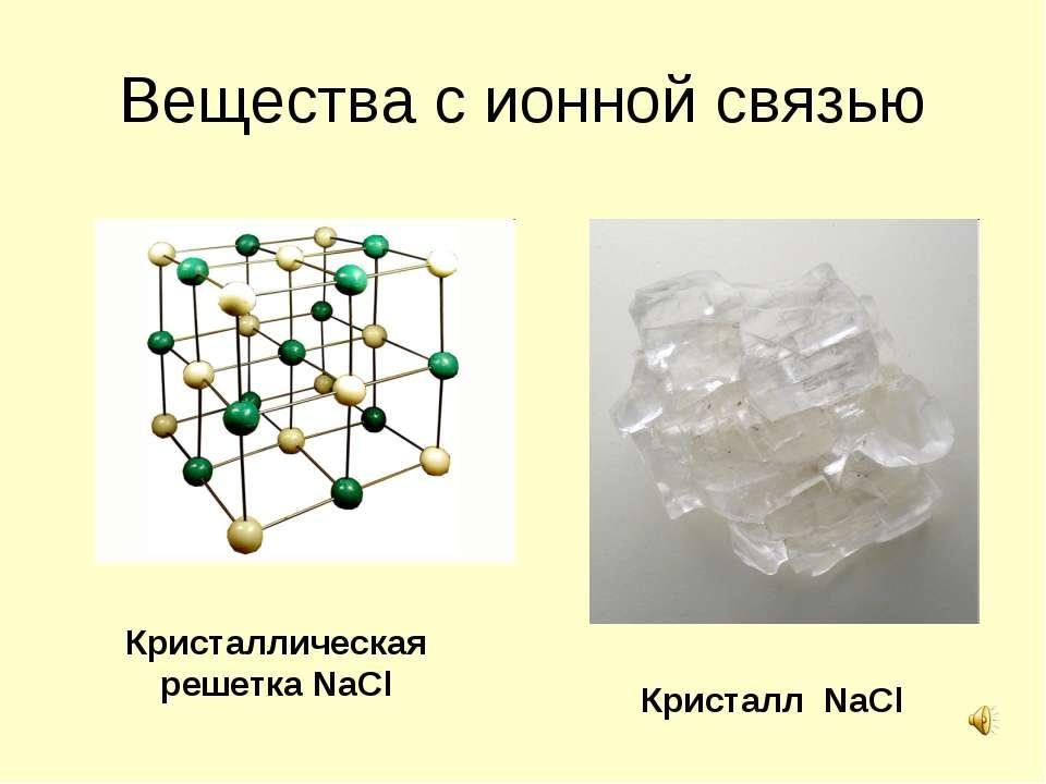 Вещества с ионной связью Кристаллическая решетка NaCl Кристалл NaCl