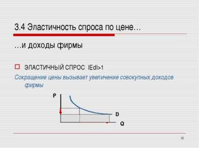 * 3.4 Эластичность спроса по цене… …и доходы фирмы ЭЛАСТИЧНЫЙ СПРОС  Ed >1 Со...