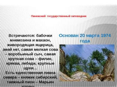 Пинежский государственный заповедник Основан 20 марта 1974 года Встречаются: ...