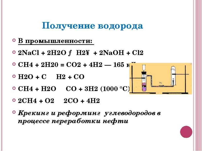 Получение водорода В промышленности: 2NaCl + 2H2O → H2↑ + 2NaOH + Cl2 СН4 + 2...
