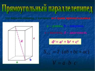 – это параллелепипед, у которого все грани прямоугольники. а b c a – длина, b...
