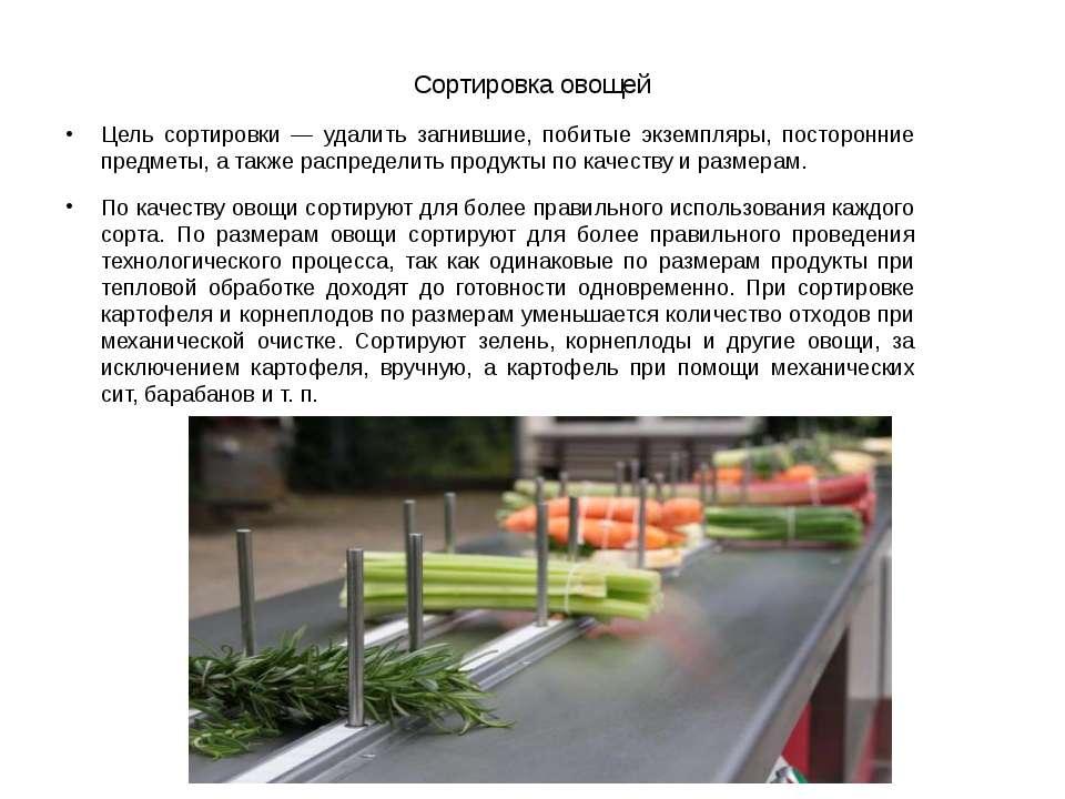 Сортировка овощей Цель сортировки — удалить загнившие, побитые экземпляры, по...