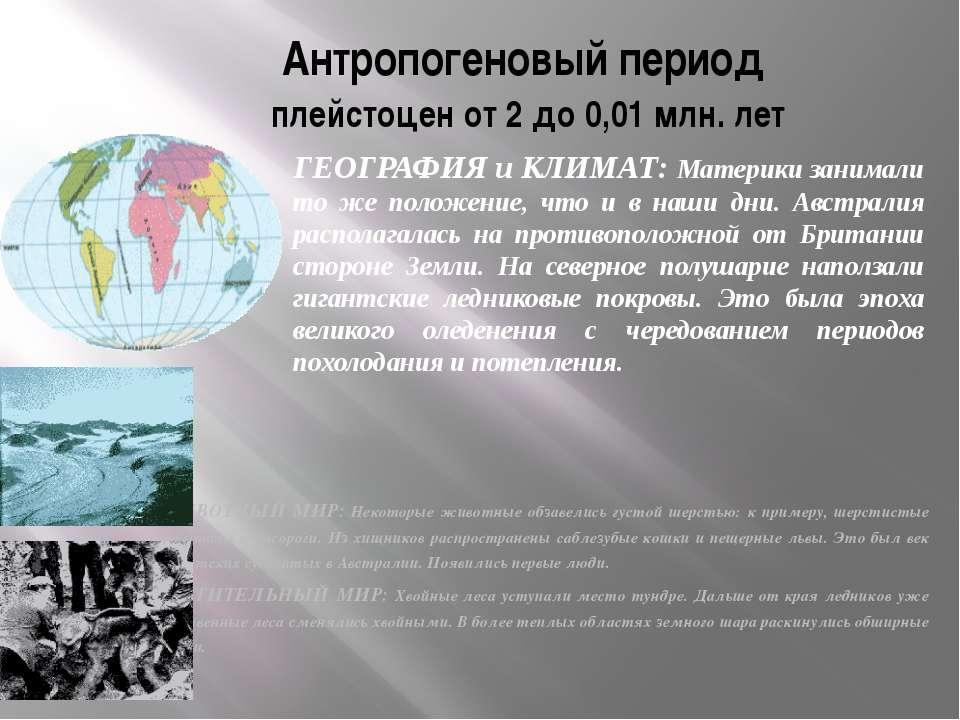 Антропогеновый период плейстоцен от 2 до 0,01 млн. лет ЖИВОТНЫЙ МИР: Некоторы...