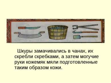 Орудия труда кожевенников. Шкуры замачивались в чанах, их скребли скребками, ...