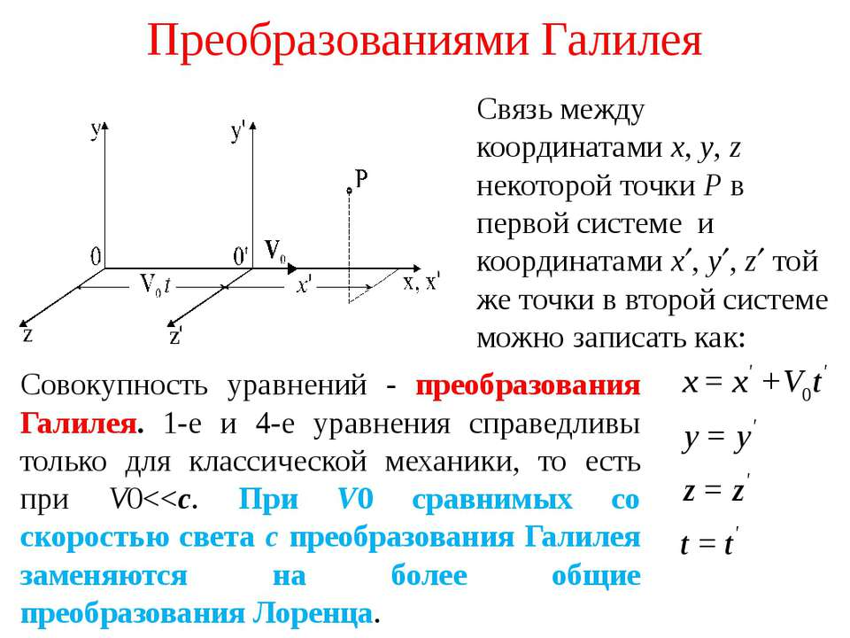 Преобразованиями Галилея Связь между координатами x, y, z некоторой точки P в...