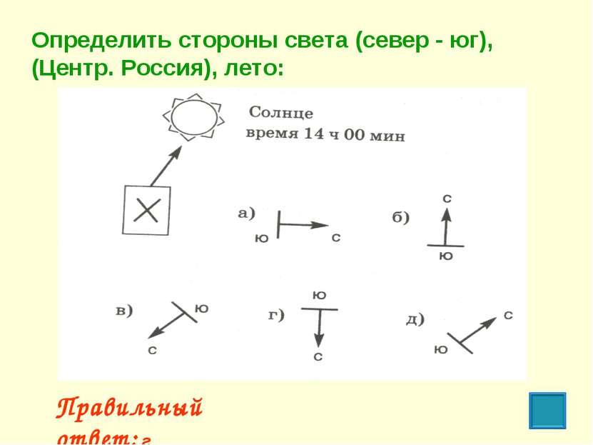 Правильный ответ: г Определить стороны света (север - юг), (Центр. Россия), л...