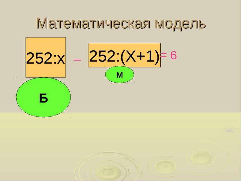 Математическая модель 252:(Х+1) 252:х _ = 6 Б М