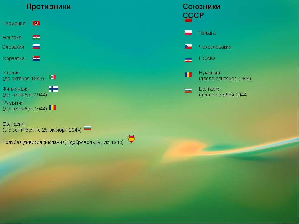Германия Противники Венгрия Хорватия Италия (до октября 1943) Финляндия (до с...