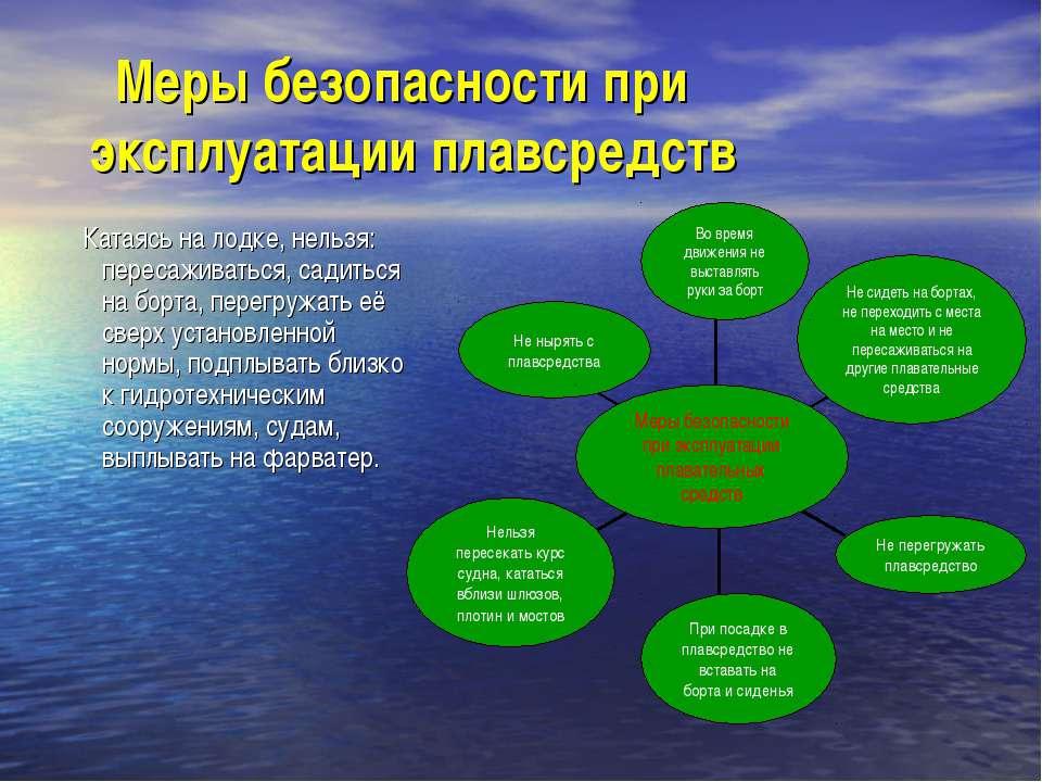 Меры безопасности при эксплуатации плавсредств Катаясь на лодке, нельзя: пере...