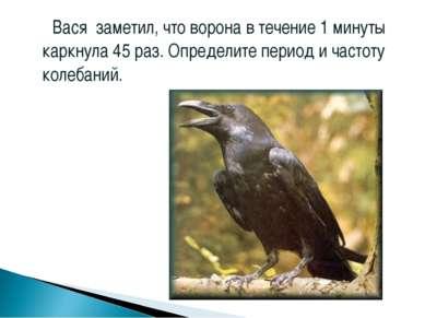 Вася заметил, что ворона в течение 1 минуты каркнула 45 раз. Определите перио...