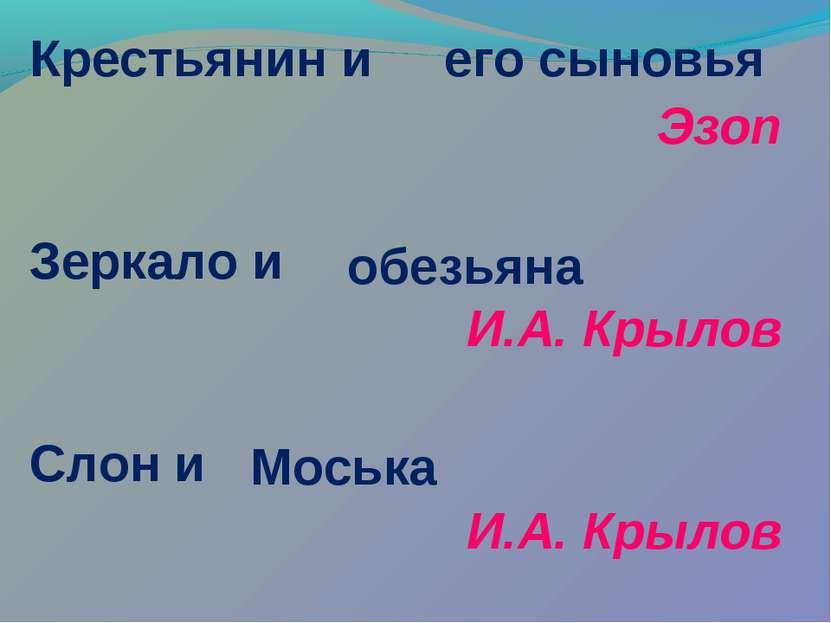 Крестьянин и Эзоп Зеркало и И.А. Крылов Слон и И.А. Крылов его сыновья обезья...