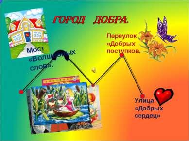 Переулок «Добрых поступков. Улица «Добрых сердец» Мост «Волшебных слов».