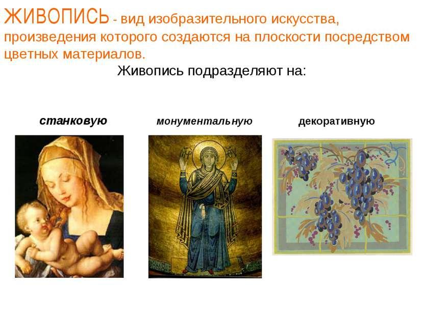 ЖИВОПИСЬ - вид изобразительного искусства, произведения которого создаются на...
