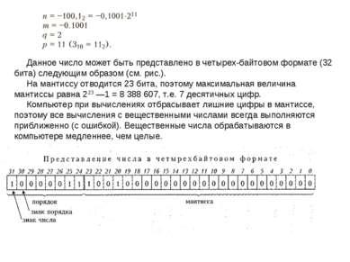 Данное число может быть представлено в четырех байтовом формате (32 бита) сле...