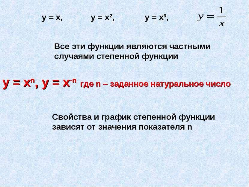 Все эти функции являются частными случаями степенной функции у = хn, у = х-n ...