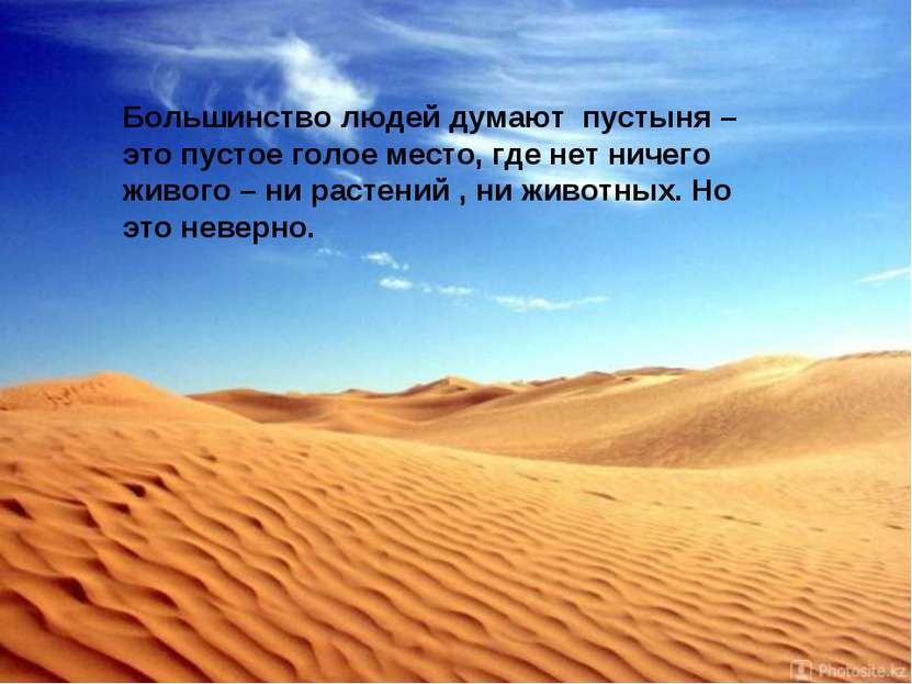 Большинство людей думают пустыня – это пустое голое место, где нет ничего жив...