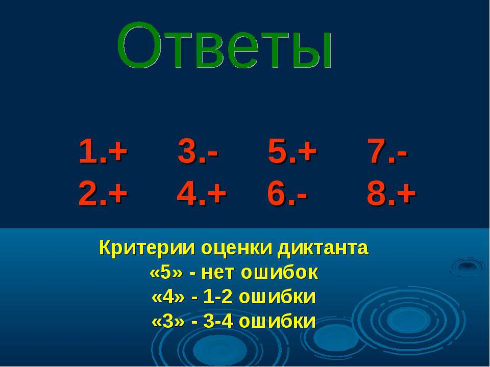 1.+ 3.- 5.+ 7.- 2.+ 4.+ 6.- 8.+ Критерии оценки диктанта «5» - нет ошибок «4»...
